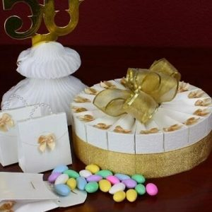1 Tier Gold Anniversary Favor Cake