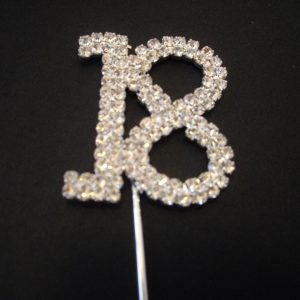 Diamante Number 18 Cake Topper