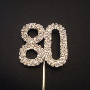 Diamante Number 80 Cake Topper