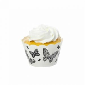 Butterflies Black Cupcake Wrappers