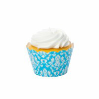 Damask Blue Cupcake Wrappers