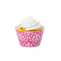 Damask Pink Cupcake Wrappers