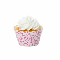 Filigree White And Pink Cupcake Wrappers