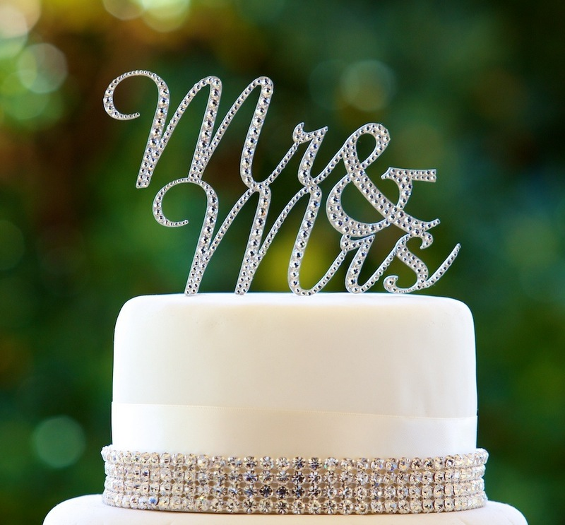 Mr & Mrs Diamante Cake Topper