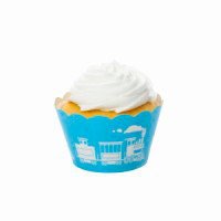 Train Blue Cupcake Wrappers